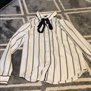 Black and white striped button down with neck tie